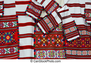Belorussian woven towels with bright geometric ornaments -...