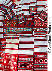 Belorussian woven towels with various brightly colored...