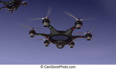 Drone with surveillance camera flying in night sky Security...
