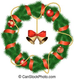 Christmas wreath with baubles and christmas bell.