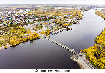Pontoon bridge over Tura river Tyumen Russia - Tyumen,...