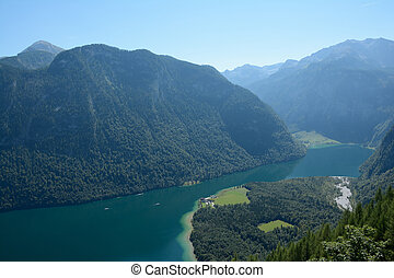 Konigssee lake in Valley in Alps - Konigssee lake, valley,...