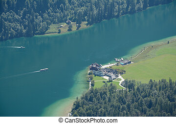 Konigssee lake and St. Bartholoma church - Konigssee lake,...