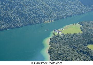 Konigssee lake and St Bartholoma church - Konigssee lake,...