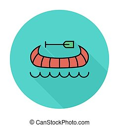 Canoe icon - Canoe Single flat color icon on the circle...