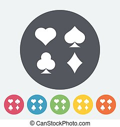 Card suit. Single flat icon on the circle. Vector...