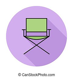 Camping chair. Single flat color icon on the circle. Vector...