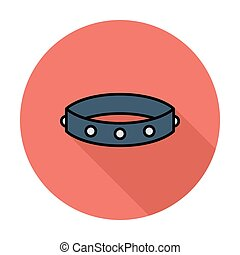 Collar Single flat color icon on the circle Vector...