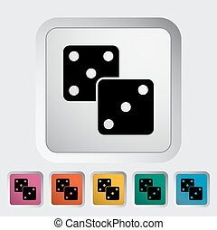 Craps icon - Craps. Single flat icon on the button. Vector...