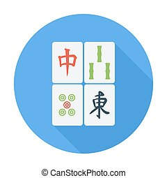 Mahjong. Flat icon for mobile and web applications. Vector...