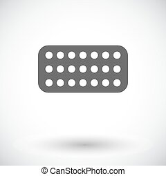 Contraceptive pills Single flat icon on white background...