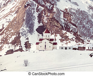 Gudauri mountain in Georgia - Small orthodox church in the...