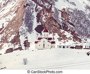 Gudauri mountain in Georgia - Small orthodox church in the...