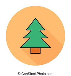 Conifer. Single flat color icon on the circle. Vector...