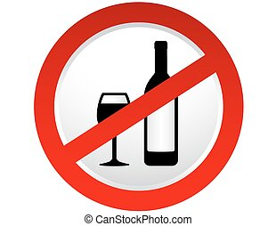 stop alcohol sign with bottle and wine glass