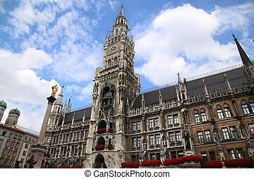 The Mariensaule, a Marian column and Munich city hall on the...