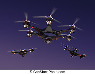 Drone with surveillance camera flying in night sky. Security...
