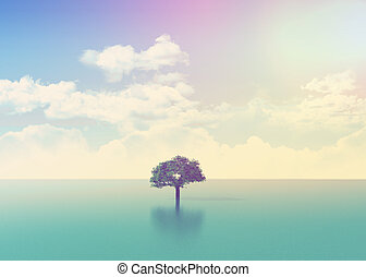 3D ocean scene with tree with retro effect