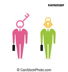 Two businessman with key symbol. Business solution concept.
