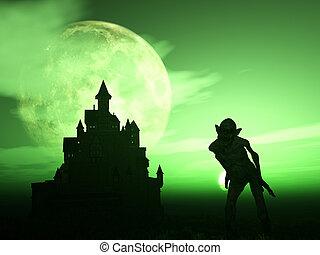 3D demon with spooky castle - 3D render of a demonic figure...