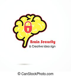 Creative brain security abstract vector logo design...