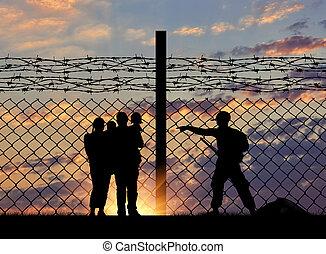 guardias, silueta, frontera,  refugees, familia