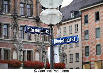 Marienplatz in Munich, German - Marienplatz and Rindermarkt...