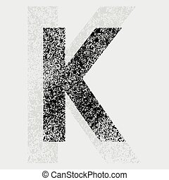 Letter K - Black grunge letter K on gray background eps10
