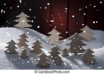Four White Wooden Christmas Trees, Snow - Many White...
