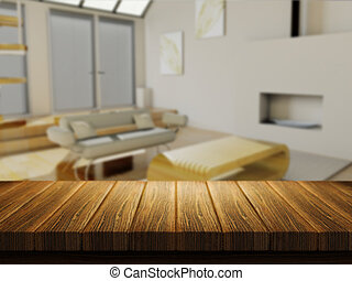 Wooden table with defocussed lounge image