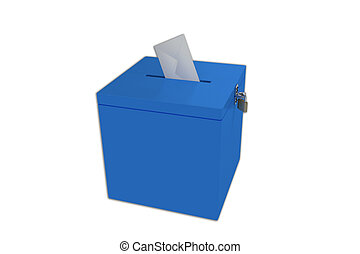 Ballot box - Render illustration of ballot box, isolated on...