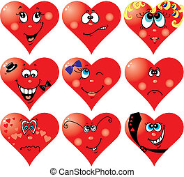 Heart Smiles to Valentine`s day - Set of nine vector heart...