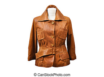 Isolated leather jackets - Ostrich leather jacket from a...