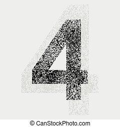 Number 4 - Black grunge number 4 on gray background. eps10