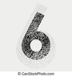 Number 6 - Black grunge number 6 on gray background. eps10