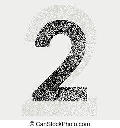 Number 2 - Black grunge number 2 on gray background eps10