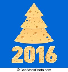 Cheese New Year symbols - Cheese New Year tree and 2016 on...