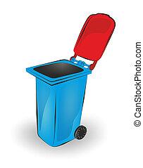 bin - simplified illustration of an open garbage bin