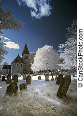 Infrared landscape of old church in churchyard in English...