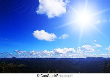 山, 太陽, ライト