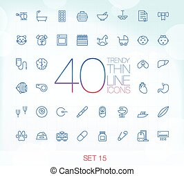 40 Trendy Thin Icons Set 15 - 40 Trendy Thin Icons for web...