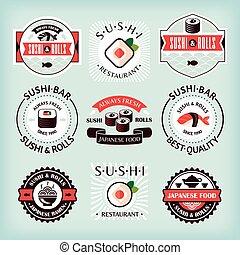 Set of various sushi labels vector illustration