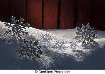 Four White Wooden Christmas Trees, Snow - Four White...