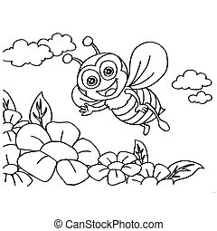 Bee Coloring Pages vector - image of Bee Coloring Pages...