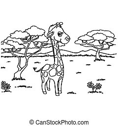 Giraffe Coloring Pages vector - image of Giraffe Coloring...
