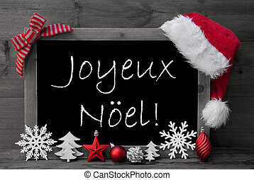 Blackboard Santa Hat Joyeux Noel Means Merry Christmas -...