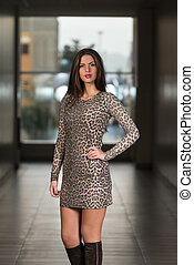 Model Wearing A Dress - Portrait Of Young And Beautiful...
