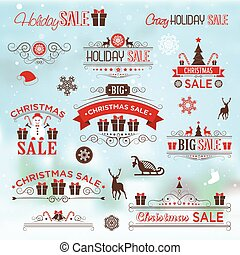 Christmas sale design set - labels, emblems with xmas tree,...