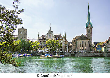 Zurich city center and Fraumunster Cathedral, Switzerland -...