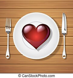 fork with knife and red heart shape on plate